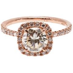 GIA Certified Modern Halo Solitaire 1.23 Carat Diamond Ring in 14 Karat Gold