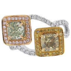GIA Certified Multi-Color Cushion Diamonds Ladies Ring