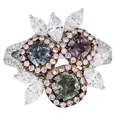 GIA Certified Multi-Color Diamond Cocktail Ring