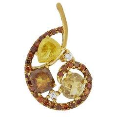 GIA Certified Multi Color Diamond Pendant