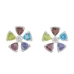 GIA Certified Multi Gemstone and Diamond Earrings