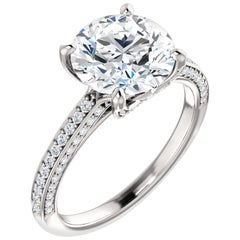 GIA Certified Multi-Row Diamond Encrusted Round Brilliant Cut Engagement Ring