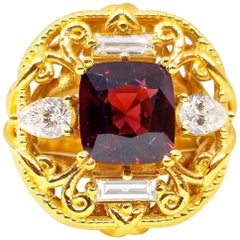 GIA Certified Natural 2.69 Carat Cushion Holiday Red Spinel White Diamond Ring