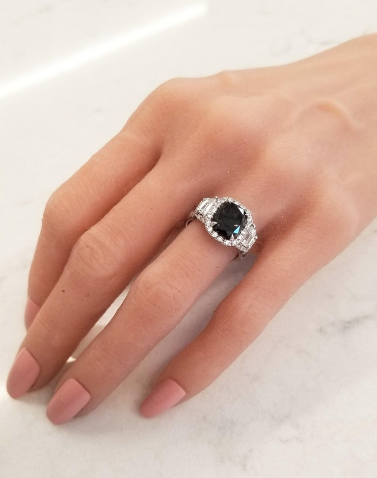 Cushion Cut GIA Certified Natural 3.47 Carat Cushion Black Diamond Cocktail Ring in 18 K  For Sale