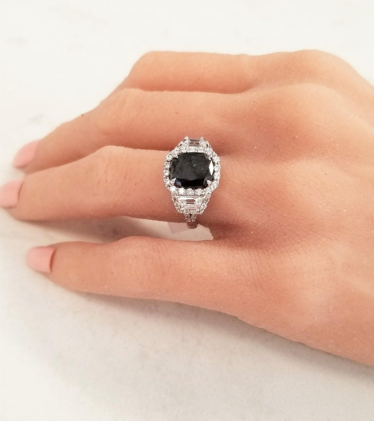 Women's GIA Certified Natural 3.47 Carat Cushion Black Diamond Cocktail Ring in 18 K  For Sale