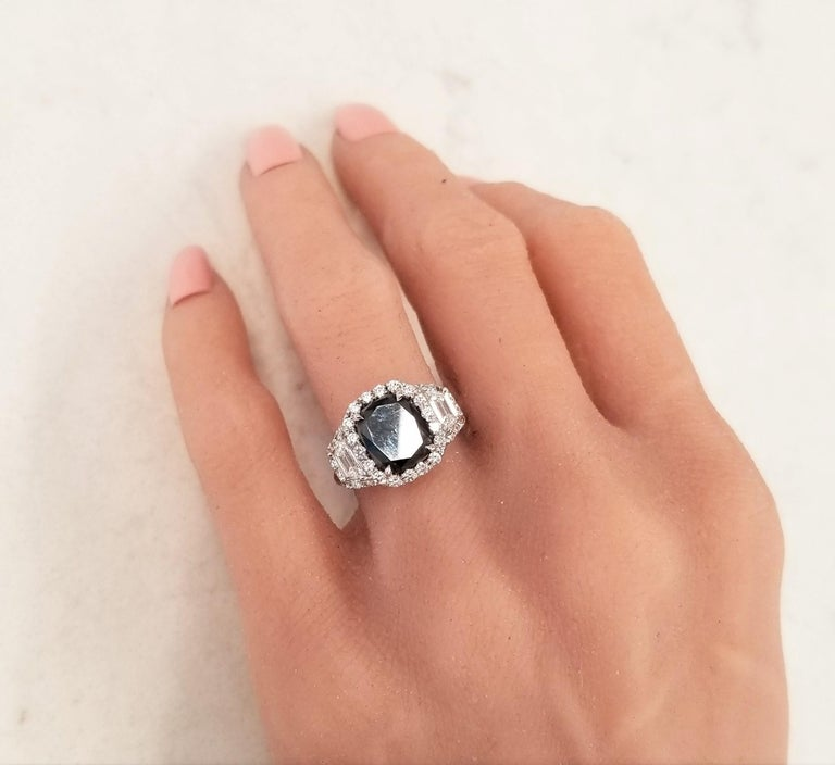 GIA Certified Natural 3.47 Carat Cushion Black Diamond Cocktail Ring in 18 K  For Sale 2