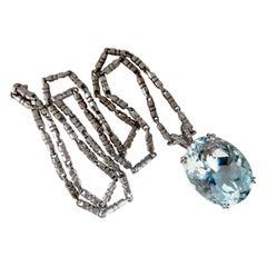 GIA Certified Natural 42.02 Carat Blue Aquamarine Diamonds Necklace 14 Karat