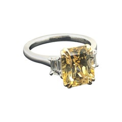 GIA Certified Natural 4.91 Carat Radiant Yellow Sapphire and Diamond Dress Ring