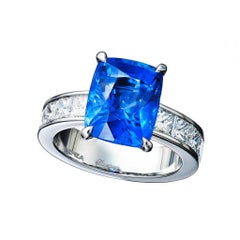 GIA Certified Natural 7.01 Carat Sapphire Diamond Platinum Engagement Ring