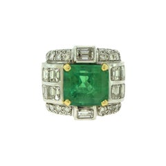 GIA Certified Natural Beryl Emerald and Diamond White Gold Art Deco Ring
