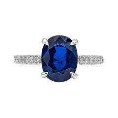 GIA Certified Natural Blue Sapphire Solitaire Engagement Ring