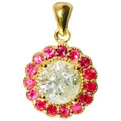 GIA Certified Natural Burma Ruby Diamond Pendant