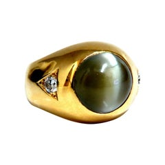 GIA Certified Natural Chrysoberyl Cats Eye Mens Diamond Signet Ring 18kt