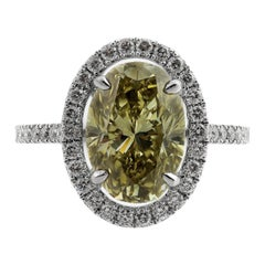 GIA Certified Natural Color Fancy Brownish Greenish Yellow Diamond 4.5 Ct Ring