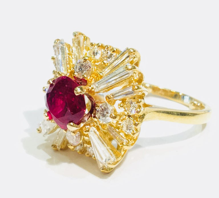 GIA Certified Natural Corundum Ruby and Diamond 18 Karat Yellow Gold Ring For Sale 4