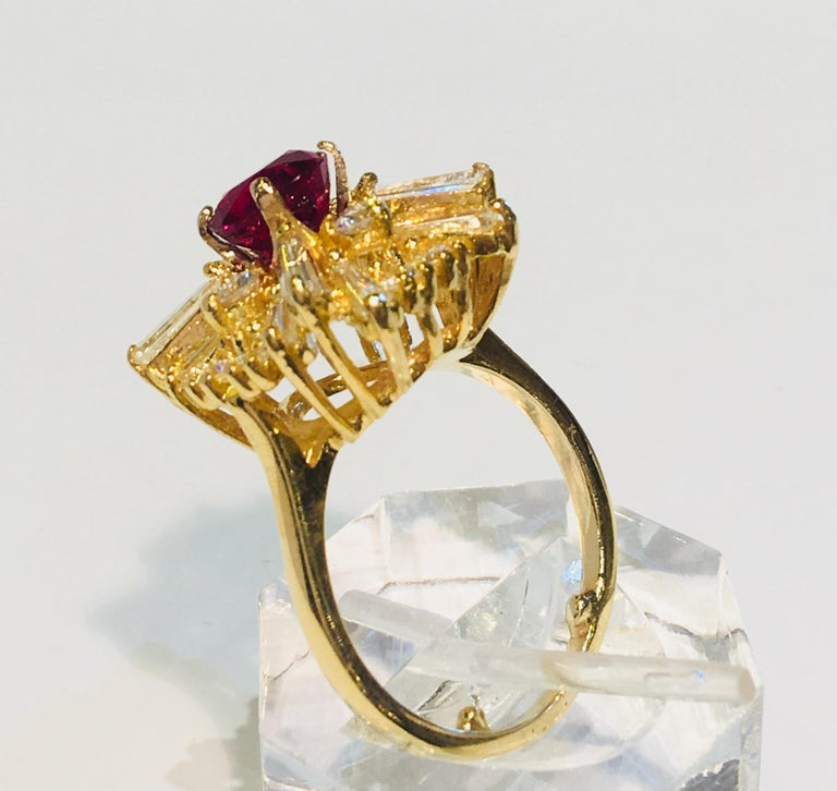 GIA Certified Natural Corundum Ruby and Diamond 18 Karat Yellow Gold Ring For Sale 5