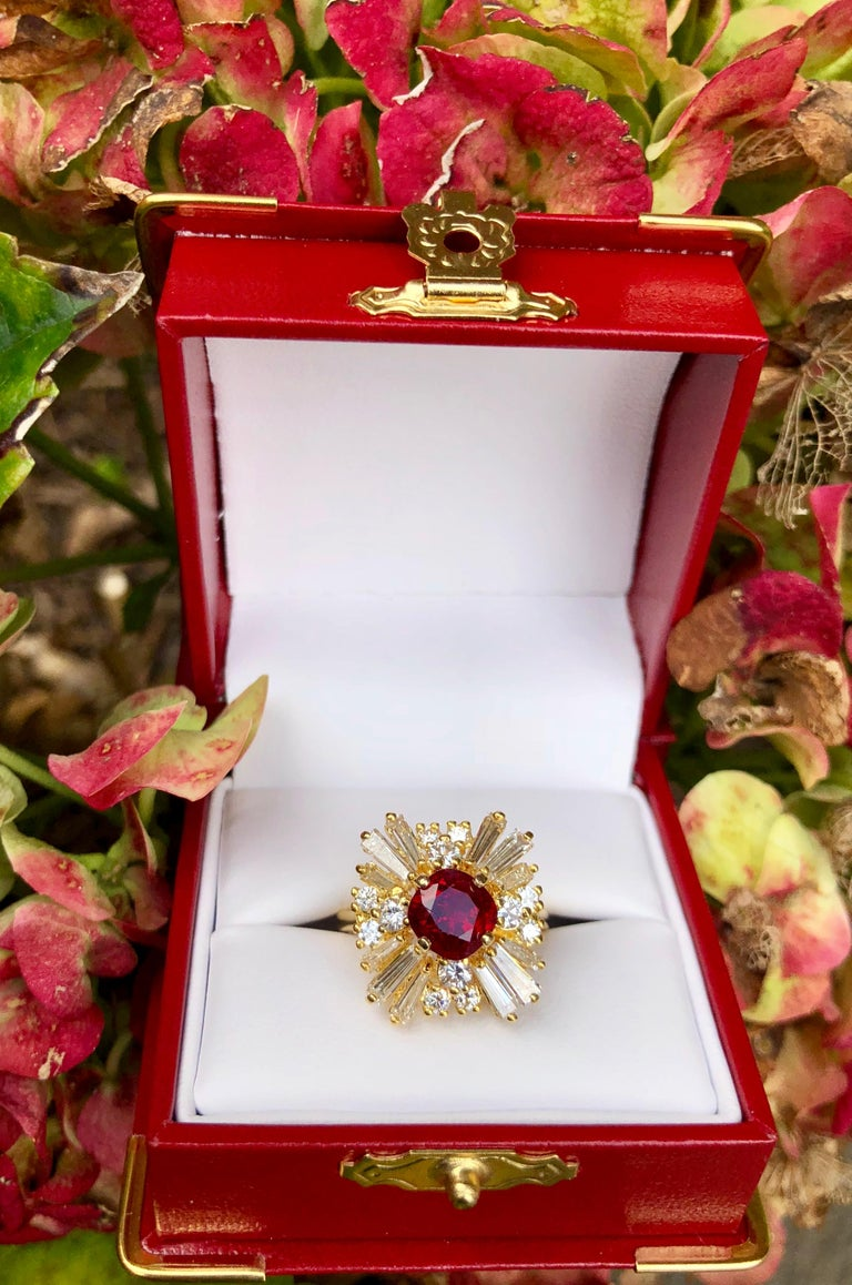 Cushion Cut GIA Certified Natural Corundum Ruby and Diamond 18 Karat Yellow Gold Ring For Sale