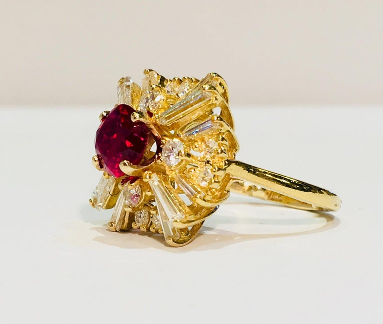 GIA Certified Natural Corundum Ruby and Diamond 18 Karat Yellow Gold Ring For Sale 7