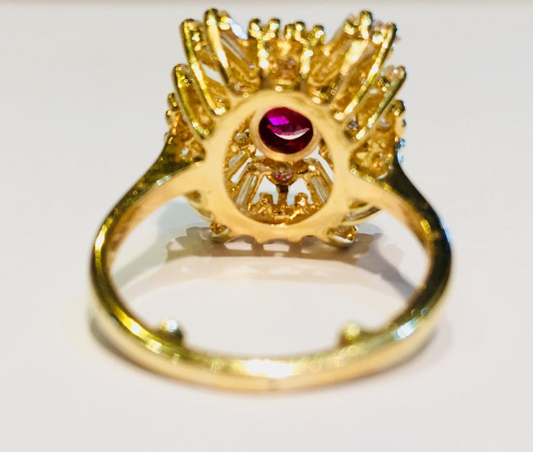 GIA Certified Natural Corundum Ruby and Diamond 18 Karat Yellow Gold Ring For Sale 9