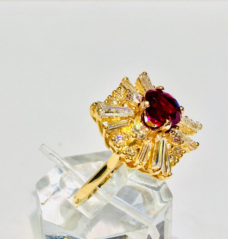GIA Certified Natural Corundum Ruby and Diamond 18 Karat Yellow Gold Ring For Sale 8