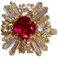 GIA Certified Natural Corundum Ruby and Diamond 18 Karat Yellow Gold Ring