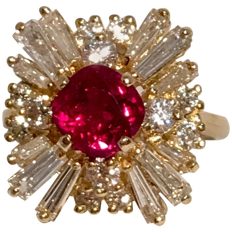 GIA Certified Natural Corundum Ruby and Diamond 18 Karat Yellow Gold Ring For Sale