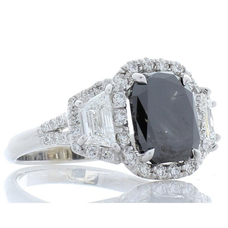 GIA Certified Natural 3.47 Carat Cushion Black Diamond Cocktail Ring in 18 K  In New Condition For Sale In Chicago, IL