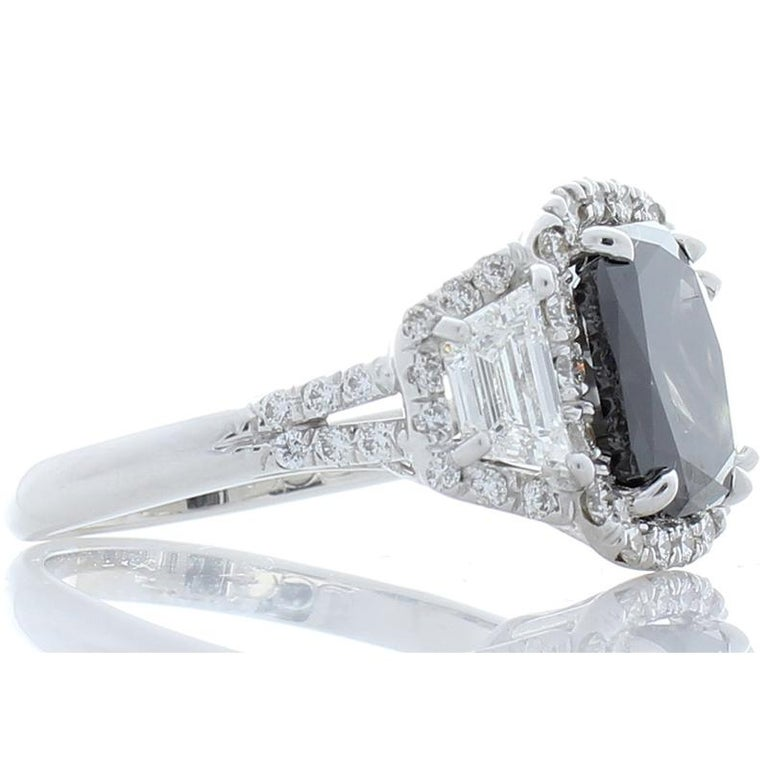 Contemporary GIA Certified Natural 3.47 Carat Cushion Black Diamond Cocktail Ring in 18 K  For Sale