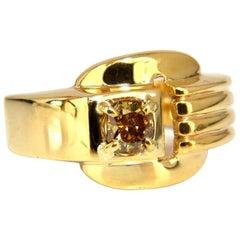 GIA Certified Natural Fancy Color Diamond Ring 14 Karat Buckle Deco