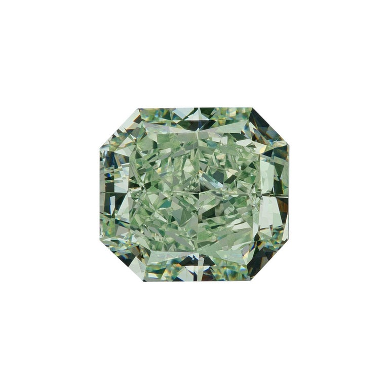 GIA Certified Natural Fancy Green 1.77 Carat VS2 Radiant Cut Diamond For Sale