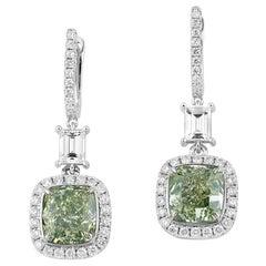 GIA Certified Natural Fancy Green 5.81 Carat Diamond 18 Karat Gold Earrings