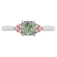 GIA Certified Natural Fancy Green & Pink Diamond Ring