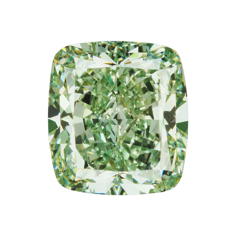 GIA Certified Natural Fancy Intense Green 3.09 Carat SI1 Cushion Cut Diamond For Sale