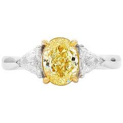 GIA Certified Natural Fancy Intense Yellow Diamond 18 Karat White Gold Ring
