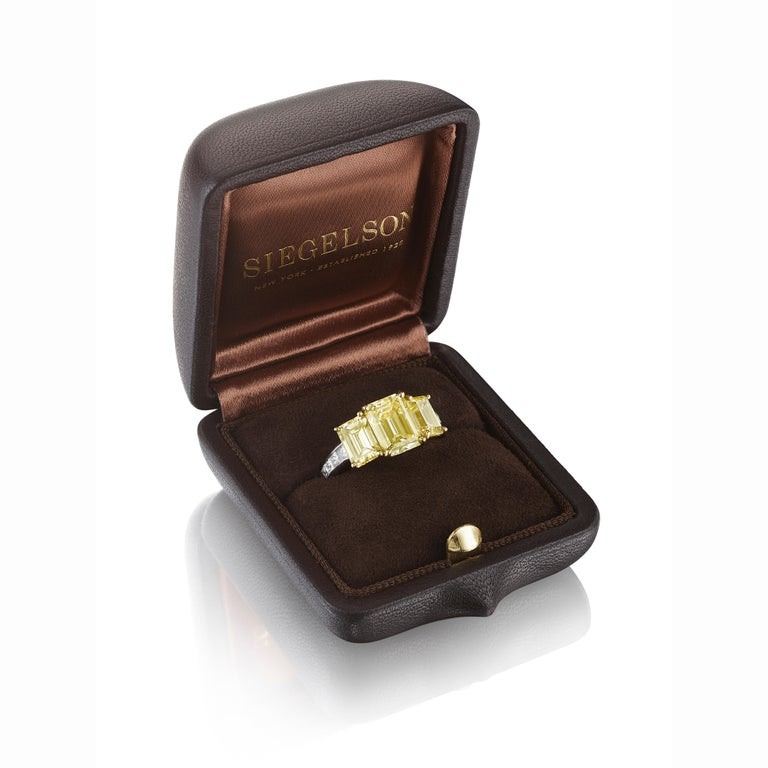 Emerald Cut GIA Certified Natural Fancy Intense Yellow Diamond Ring by Siegelson, NY For Sale
