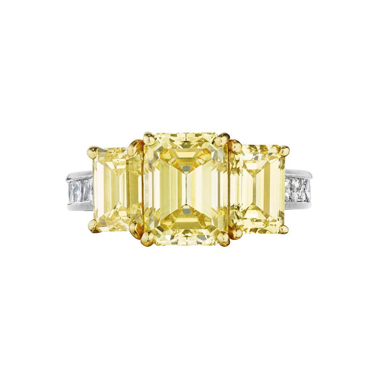 GIA Certified Natural Fancy Intense Yellow Diamond Ring by Siegelson, NY For Sale