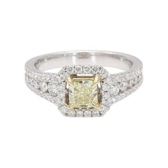 GIA Certified Natural Fancy Light Yellow Cushion & White Dia. Ring 1.45cts 18k