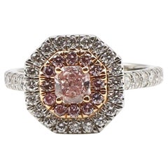GIA Certified Natural Fancy Pink 0.42 Carat Diamond Platinum Engagement Ring