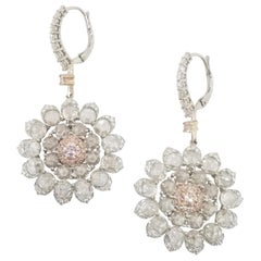 GIA Certified Natural Fancy Pink Flower Shape Diamond Earrings