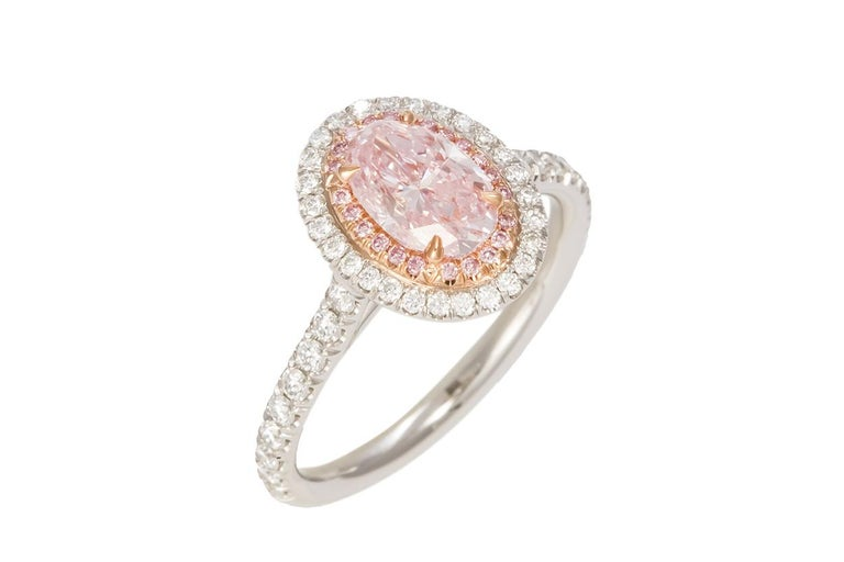 GIA Certified Natural Fancy Pink Oval Diamond Halo Ring 1.58 Carat In New Condition For Sale In Tustin, CA
