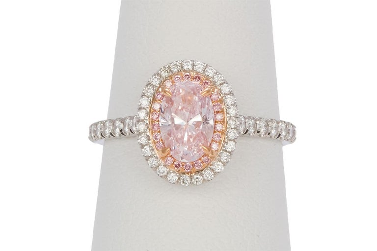 Women's GIA Certified Natural Fancy Pink Oval Diamond Halo Ring 1.58 Carat For Sale