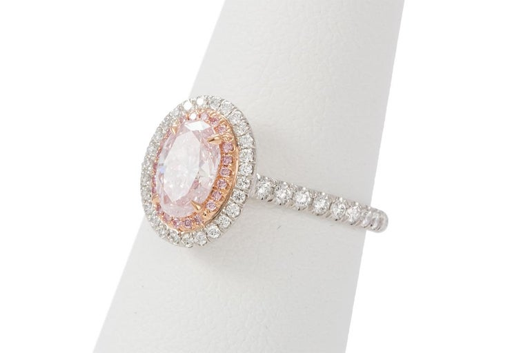 GIA Certified Natural Fancy Pink Oval Diamond Halo Ring 1.58 Carat For Sale 1