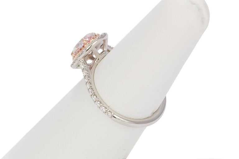 GIA Certified Natural Fancy Pink Oval Diamond Halo Ring 1.58 Carat For Sale 2