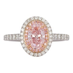 GIA Certified Natural Fancy Pink Oval Diamond Halo Ring 1.58 Carat
