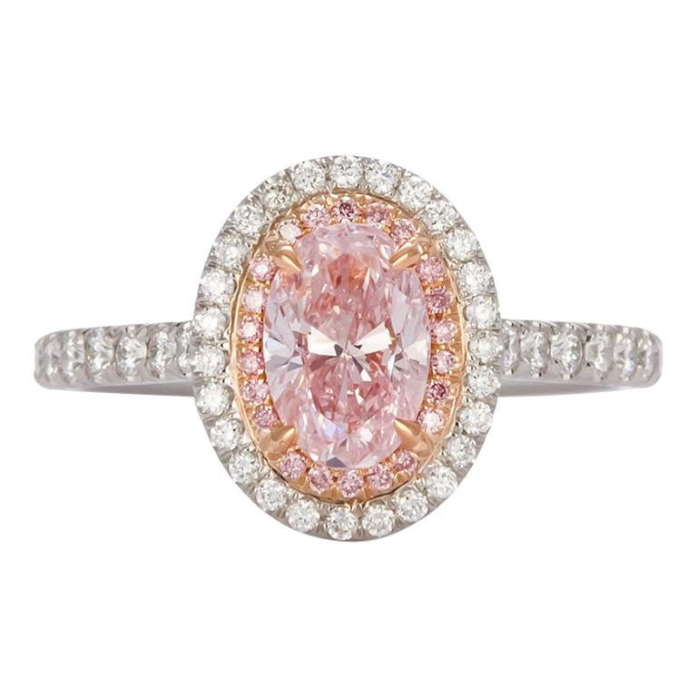 GIA Certified Natural Fancy Pink Oval Diamond Halo Ring 1.58 Carat For Sale