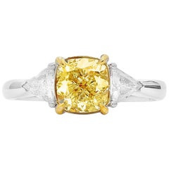 GIA Certified Natural Fancy Yellow 1.76 Carat Diamond 18 Karat White Gold Ring