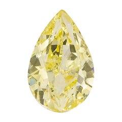 GIA Certified Natural Fancy Yellow 5.01 Carat SI1 Pear Cut Diamond