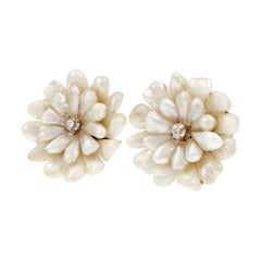 GIA Certified Natural Freshwater Pearl Diamond Gold Button Earrings