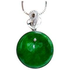 GIA Certified Natural Green Jade Necklace 18 Karat
