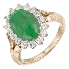 GIA Certified Natural Green Oval Jadeite Jade Diamond Halo Gold Ring Ring